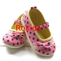 Lindo Sapato Rosa Com Bolinhas Marrom, Tam 22 Importado