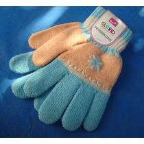 Luva De Lã Feminina Cute - Inverno | Rosa E Azul Claro