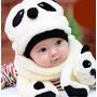 Gorro Com Cachecol Infantil Modelo Panda