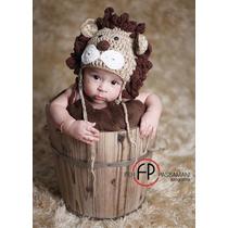 Leão Touca Crochê Fotografia Studio Newborn Foto