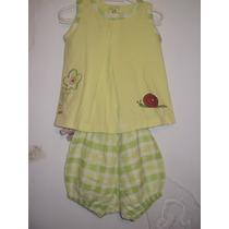 Conjunto Verde Com Bordado De Flor Pulla Bulla Baby