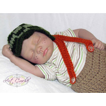 Conjunto De Newborn De Crochê Do Chaves - Fantasia Chapeu