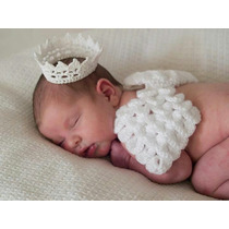 Conjunto Newborn Anjinho Crochê Anjo Prop Fotografia Bebê