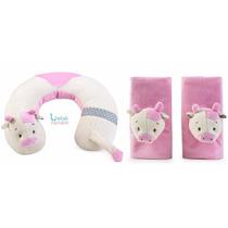 Kit Protetor Cinto Segurança E Pescoço Vaca Rosa. Bebê Neném