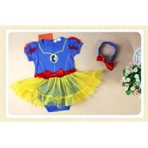 Macacão Vestido Body Bebê Baby Branca De Neve Disney Luxo!!!
