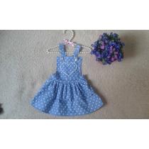 Jardineira Infantil Moda Bebê Jeans Com Saia E Pérola