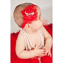 Faixa Tiara Cabelo Bebê Menina Flor Com Pérola Laço