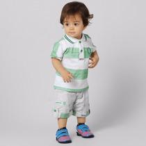 Camisa Do Palmeiras Infantil, Polo + Bermuda Oficial