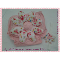 Calcinha+faixa Com Flor Conjunto Kafka Baby Infantil Bebê