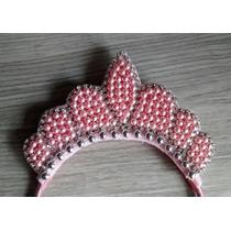 Tiara Coroa Rosa Pérolas