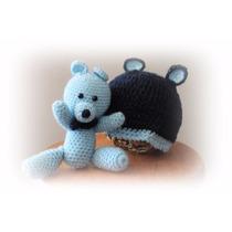 Urso Touca C/ Amigurumi Branco Azul Newborn By Débora Cripa