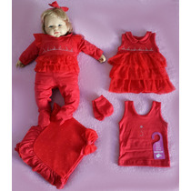 Kit Saída Maternidade Menina Sonho De Nenê Vermelho Rosa