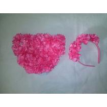 Calcinha Infantil E Arco Customizada Com Flores Artesanais