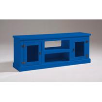 Rack De Madeira 2 Portas De Vidro Azul (produto Montado)