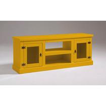Rack De Madeira 2 Portas De Vidro Amarelo (produto Montado)