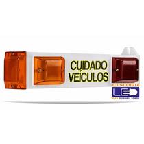 Sinalizador C/ Som Saída Veículos Led Bivolt Garagem Portão