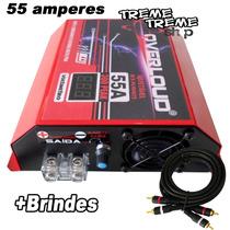 Fonte Overloud 55 Amper 12 14 Volts C/ Voltimetro + Brindes