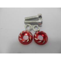 Par Parafuso Placa Aluminio P/motocicleta Vermelho 666001
