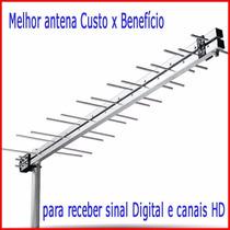 Antena Externa Digital 34,elementos Funciona Canais Hdtv