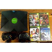 Xbox 1º Geração 2 Controles 4 Cds E Hd Com Jogos