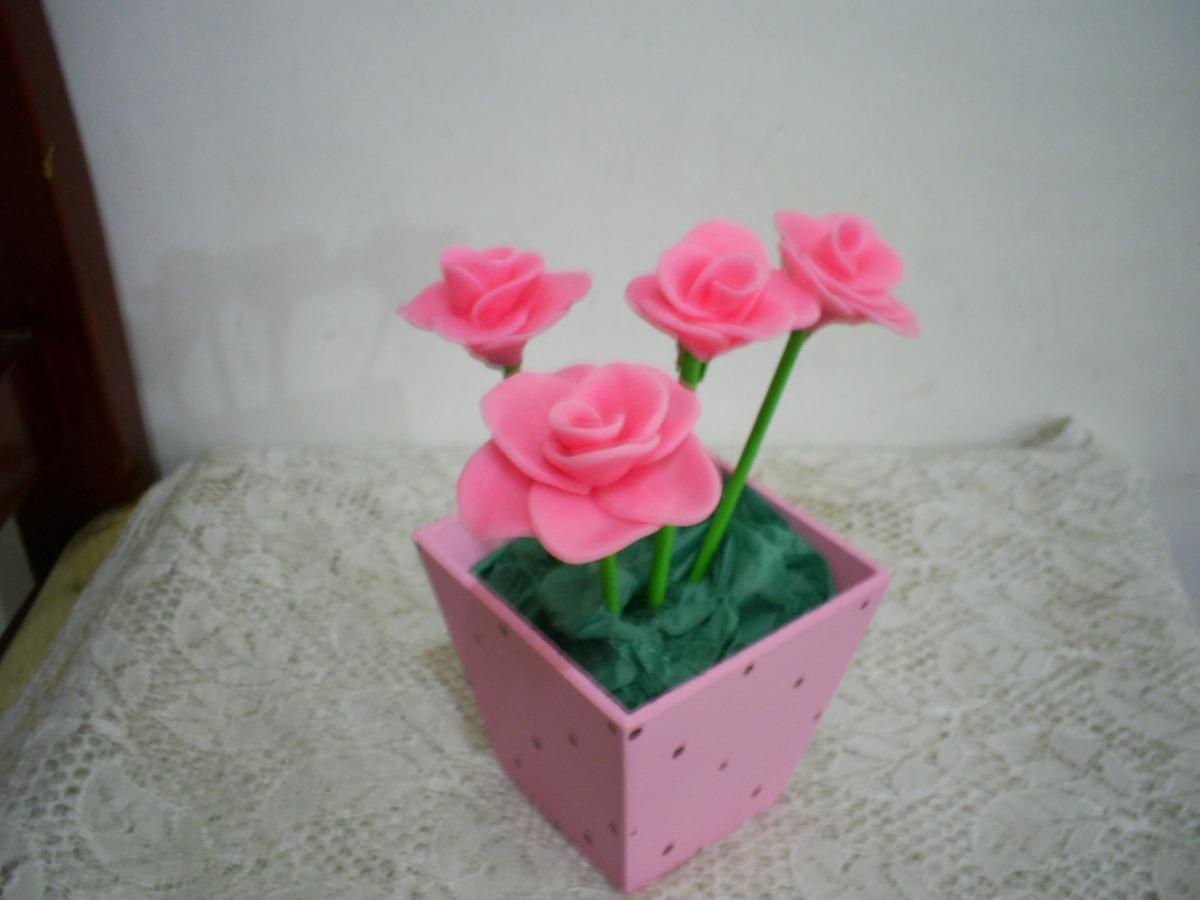 Enfeite Centro De Mesa Rosa/flores Aniversário Chá De Bebe - R$ 10