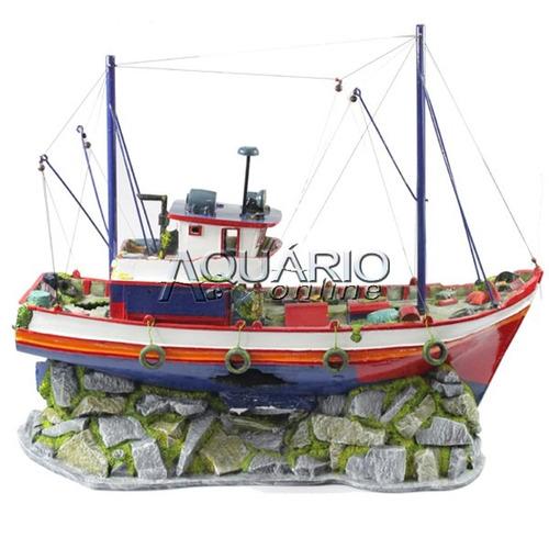 Enfeite Para Aquário - Barco De Pesca Gigante
