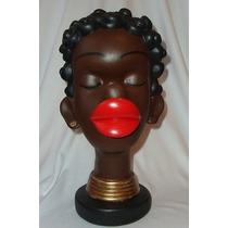 Estatueta Africana Beiçuda Boneca Escultura Gesso Mulata