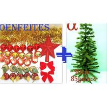 Árvore De Natal Verde Pinheiro 90cm 85galho+50 Enfeites.alfa
