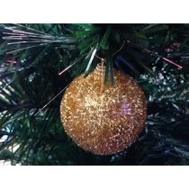Enfeite Natalino 3 Bolas Douradas Com Detalhes 9cm