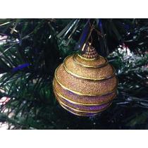 Enfeite Natalino 4 Bolas Douradas Com Detalhes 8cm