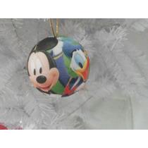 Bola De Natal Mickey Disney 8cm + Laço Dourado (24unid)