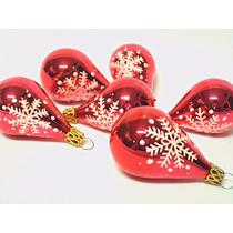 Enfeite Arvore De Natal Em Vidro, Pingente Gota Vermelha