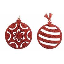 Enfeite Árvore Vermelho 10cm - 6 Unidades Natália Christmas