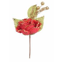 Pick Com Rosa Vermelha 17cm - 1 Unidade - Natália Christmas