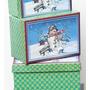 Conjunto 10 Caixas Empilháveis Natalinas Presente Natal Neve