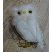 Coruja Decorativa 13cm Com Penas Brancas