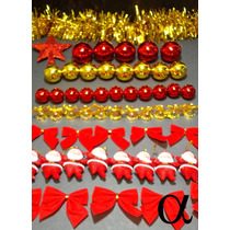 Kit 100pç Enfeite De Natal P/árvore Vermelha E Dourada Alfa.