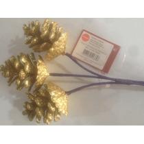 Enfeite De Natal Pick 3 Pinhas Gliter Gold M21-07gd - 5 Pçs