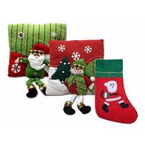 Kit 2 Almofadas Decorativas De Natal + Meia De Papai Noel