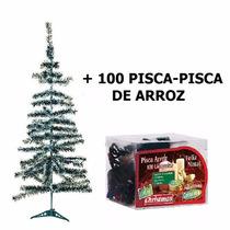 Árvore Natal Pinheiro Verde Nevado 1,20m + 100 Luzes Pisca
