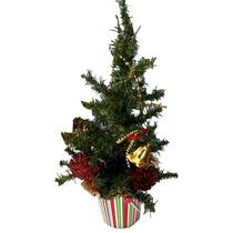 Enfeites De Natal Árvore Decorada C/ Cachepô Pequena