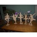 Kit 10 Bailarinas Mdf 25 Cm Com Base Decoração Festa