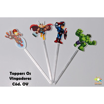 Mini Totens Toppers Personalizados - Os Vingadores - 100 Uni