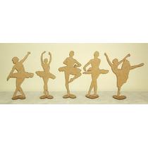 Kit 5 Bailarinas Mdf 25 Cm Com Base Decoração Festa