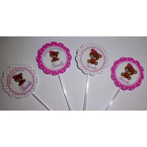 50 Toppers Tags Urso Com Rosa,festa Urso,personalizados