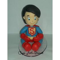 Topo De Bolo Super Homem Baby Biscuit + Vela