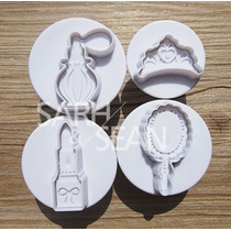 Ejetor Cortador Kit Com 4 Princesa Fashion Pasta Americana