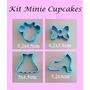 Cortador Minnie Kit 4 Peças (cabeça, Laço, Sapato E Vestido)