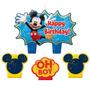 Vela De Aniversário Mickey Mouse 04peças No Pacote R$39,90