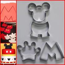 Cortador Mickey Kit Com 4 Pçs (cabeça, Calça, Mão E Letra M)